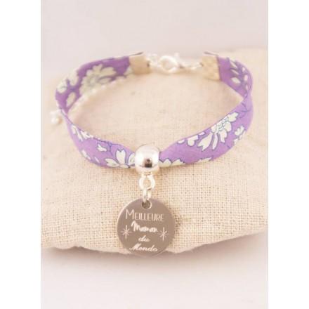 Bracelet Liberty Mauve Meilleure Maman Du Monde Médaille Gravée