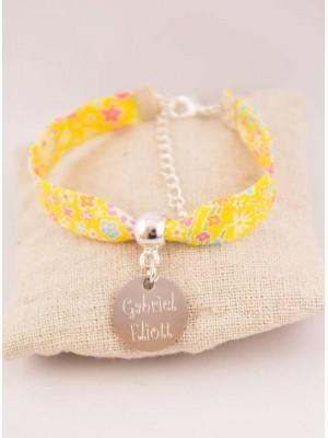 Bracelet Liberty Personnalisé Kayoko Jaune & Médaille Gravée