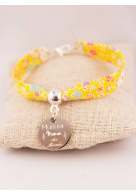 Bracelet Liberty Jaune Meilleure Maman Du Monde Médaille Gravée