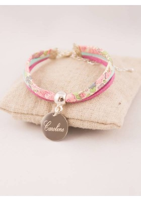 Bracelet Enfant Liberty Personnalisé Kayoko Jaune & Médaille Gravée