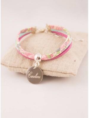 Bracelet Liberty Fleuri & Suédine Personnalisé Médaille Gravée