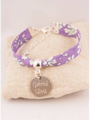Bracelet Enfant Liberty Mauve Personnalisé & Médaille Gravée
