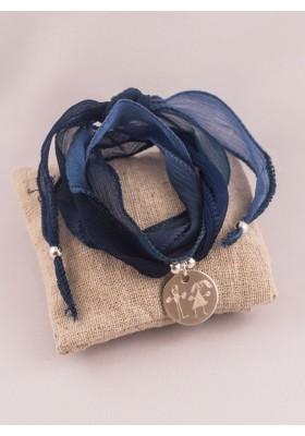 Bracelet 3 Tours Soie et Médaille argent Gravée
