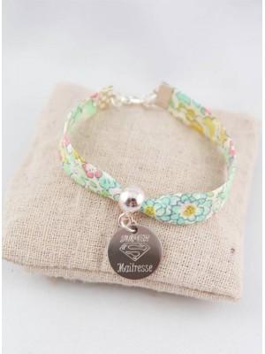 Bracelet Liberty Vert D'eau Super Maîtresse Médaille Gravée