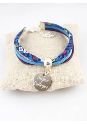 Bracelet Liberty Fleurs Bleues & Suédine Personnalisé Médaille Gravée