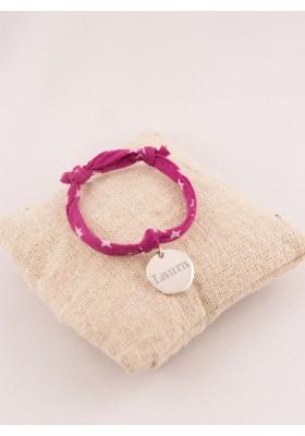 Bracelet Tissu Etoiles Enfant & Médaille Argent 15mm