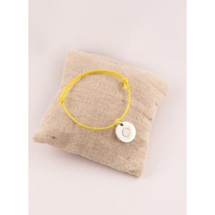 Bracelet Cordon Ajustable Petite Medaille Ronde Gravee
