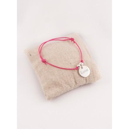 Bracelet Cordon Ajustable Perles et Petite Medaille Ronde Gravee