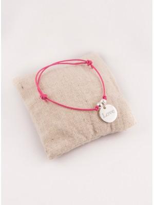 Bracelet Cordon Ajustable Perles & Petite Médaille Ronde Gravée Argent
