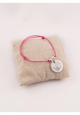 Bracelet Cordon perles et Médaille Argent gravée