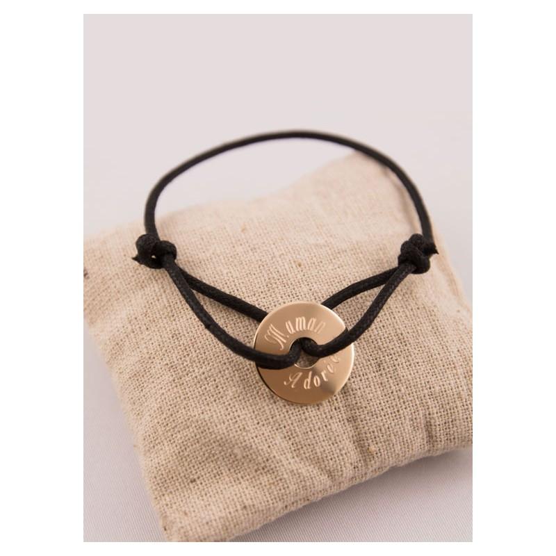 bracelet cordon homme medaille plaqu or cible grav e. Black Bedroom Furniture Sets. Home Design Ideas