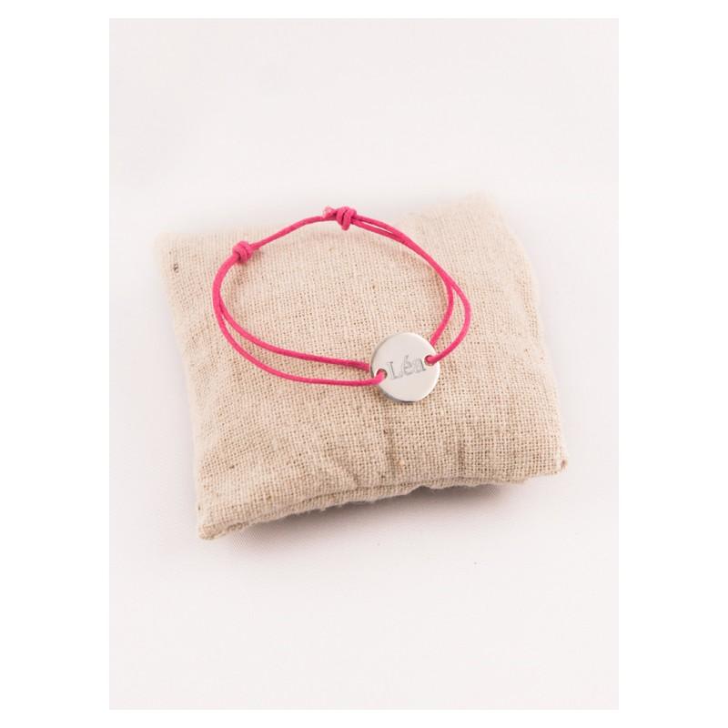 14248e9ba7426 Bracelet Enfant Petite Medaille 2 Trous Argent Gravée - Fabrique A ...