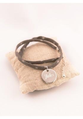 Bracelet Tissu Etoiles Medaille Argent Ronde Gravée