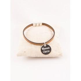 Bracelet Cuir & Médaille Ronde Gravée Personnalisée