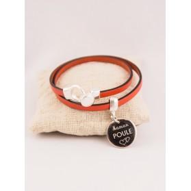 Bracelet Cuir 2 Tours Médaille Acier Gravée